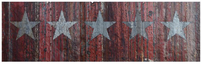 Five silver stars. 250x75cm
