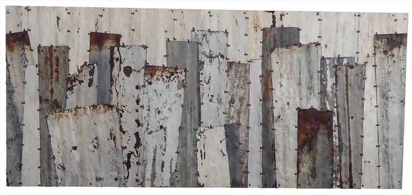 Pieces 3. White & grey. 190x84cm