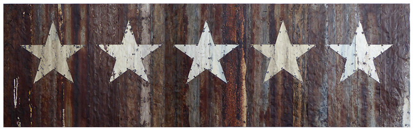 Five cream stars. 250x75cm