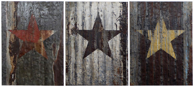 Three stares. Red, White and Yellow. 210x93cm (each)