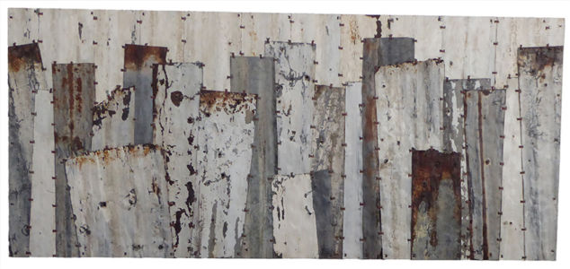 Pieces 3. White & grey. 190x84cm
