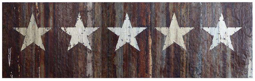 Five cream stars. 250x75cm